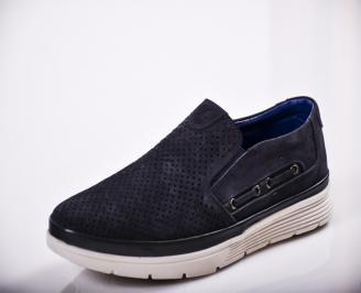 Мъжки спортно елегантни  обувки естествен велур сини MXPD-27118
