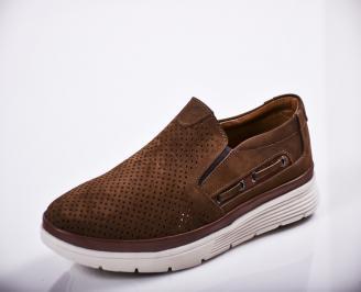 Мъжки спортно елегантни  обувки естествен велур кафяви TLAQ-27119