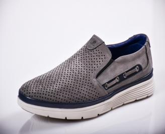 Мъжки спортно елегантни  обувки естествен велур сив XJFO-27120