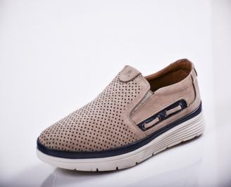 Мъжки спортно елегантни  обувки естествен велур бежови SYDD-27121