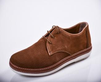 Мъжки спортно елегантни  обувки естествен велур кафяви MDGI-27122