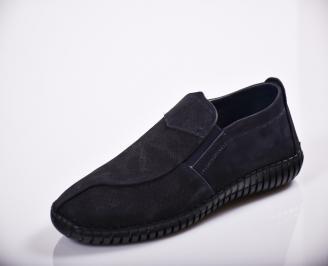 Мъжки спортно елегантни  обувки естествен велур сини HUIX-27124