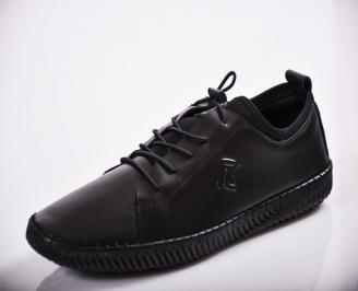 Мъжки спортно елегантни обувки естествена кожа черни GEDQ-27125