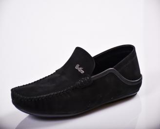 Мъжки спортно елегантни  обувки естествен велур черни FRFC-27126