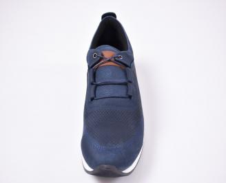 Мъжки спортно елегантни  обувки естествен велур сини HOPB-27127
