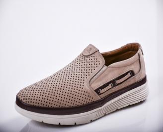 Мъжки спортно елегантни  обувки естествен велур бежови TGGH-27128