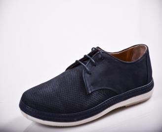Мъжки спортно елегантни  обувки естествен велур сини OIME-27129
