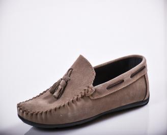 Мъжки спортно елегантни  обувки естествен велур сив ZLKQ-27130