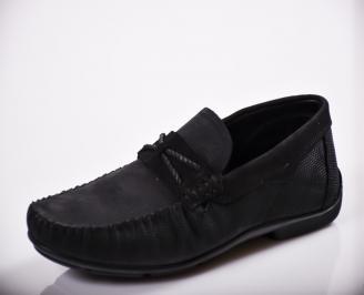 Мъжки спортно елегантни  обувки естествен велур черни XJZL-27131