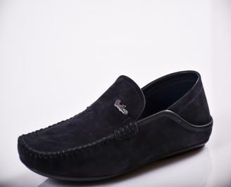 Мъжки спортно елегантни  обувки естествен велур сини KDYG-27132