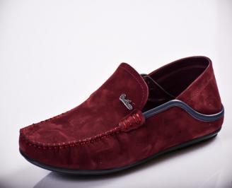 Мъжки спортно елегантни  обувки естествен велур бордо DNFI-27133