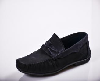 Мъжки спортно елегантни обувки естествена кожа сини CHNJ-27134