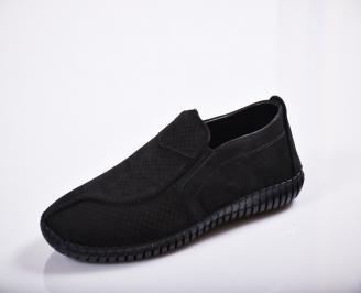 Мъжки спортно елегантни  обувки естествен велур черни PXXE-27135