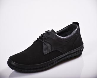 Мъжки спортно елегантни  обувки естествен велур черни FTOX-27136