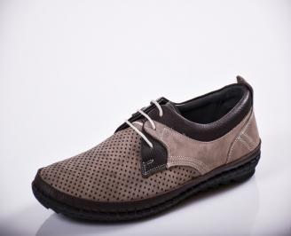 Мъжки спортно елегантни  обувки естествен велур бежови NDSO-27137