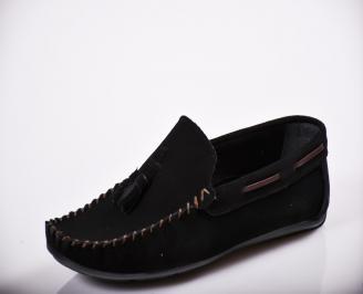 Мъжки спортно елегантни  обувки естествен велур черни HLLY-27138