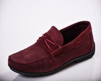 Мъжки спортно елегантни обувки естествена кожа бордо CGQY-27139