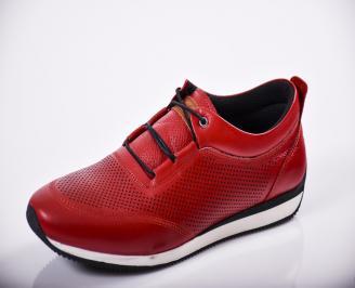Мъжки спортно елегантни обувки естествена кожа червени NRMP-27140