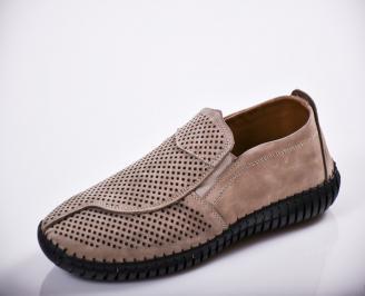 Мъжки спортно елегантни  обувки естествен велур бежови NSKX-27141
