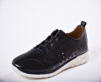 Мъжки спортно елегантни  обувки естествена кожа черни UTHY-27265