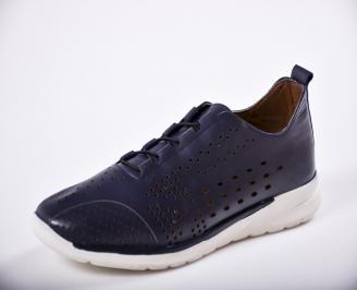Мъжки спортно елегантни  обувки естествена кожа сини ZATR-27267