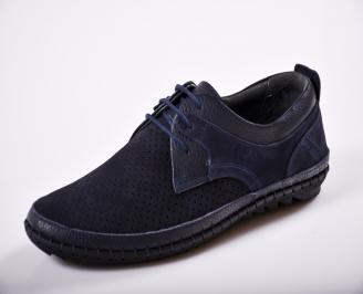 Мъжки спортно елегантни  обувки естествена кожа сини FRPY-27268