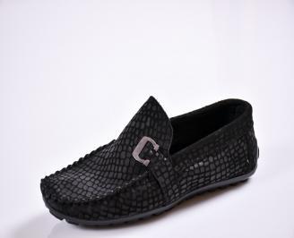 Мъжки спортно елегантни  обувки естествен набук черни HCNZ-27659