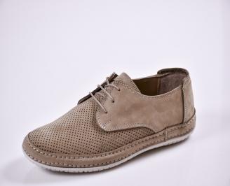 Мъжки спортно елегантни  обувки естествена кожа бежови HHCO-27665