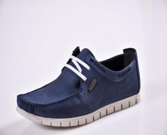 Мъжки спортно елегантни  обувки естествен набук сини WJTY-27671