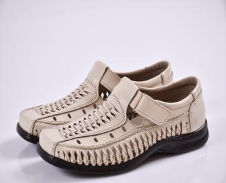 Мъжки спортно елегантни  обувки естествена кожа бежови KBOB-27674
