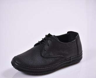 Мъжки спортно елегантни  обувки естествена кожа черни LAGH-27675