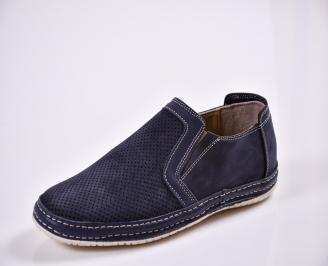 Мъжки спортно елегантни  обувки естествена кожа сини JYPC-27676