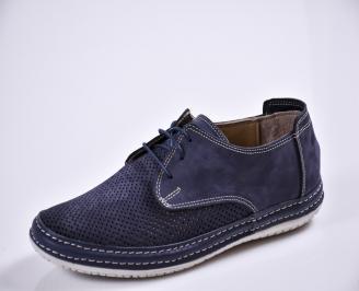 Мъжки спортно елегантни  обувки естествена кожа сини DDTG-27677