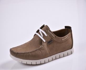 Мъжки спортно елегантни  обувки естествен набук кафяви SRDH-27690