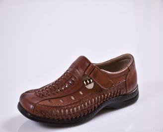 Мъжки спортно елегантни  обувки естествена кожа кафяви NLWX-27691