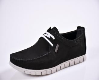 Мъжки спортно елегантни  обувки естествен набук черни GMWQ-27700