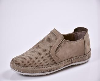 Мъжки спортно елегантни  обувки естествен набук бежови KJFH-27701