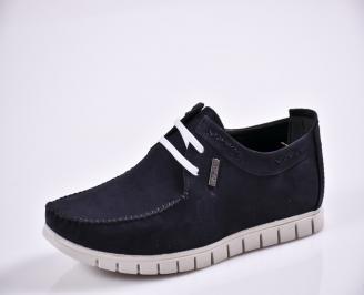 Мъжки спортно елегантни  обувки естествен набук сини VUNV-27703