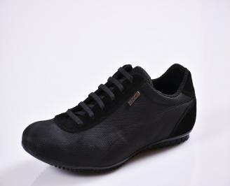 Мъжки спортно елегантни  обувки текстил черни EZEM-27765
