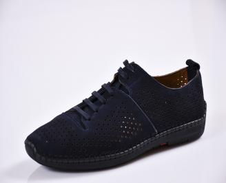 Мъжки спортно елегантни  обувки естествена кожа сини IDGL-27766