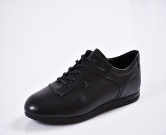 Мъжки спортно елегантни  обувки естествена кожа черни OOXQ-27768