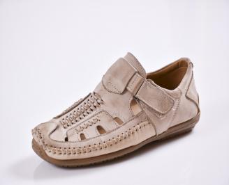 Мъжки спортно елегантни  обувки естествена кожа бежови CONS-27769