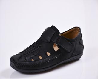 Мъжки спортно елегантни  обувки естествена кожа черни MMYB-27770