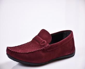 Мъжки спортно елегантни  обувки набук червени ZXWI-27823