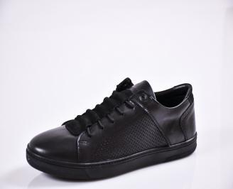 Мъжки спортно елегантни  обувки естествена кожа черни NVHH-27826