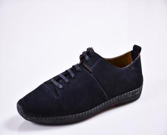Мъжки спортно елегантни  обувки набук сини ZFFL-27843