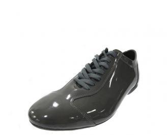 Мъжки спортно елегантни обувки естествена кожа/лак сиво PYPJ-11888