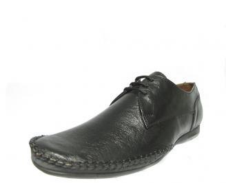 Мъжки спортно елегантни обувки естествена кожа черни EJQO-13055