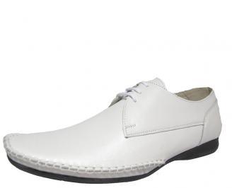 Мъжки спортно елегантни обувки естествена кожа бяло GDEL-13515