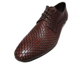 Мъжки спортно елегантни обувки естествена кожа кафяви LBYX-15842